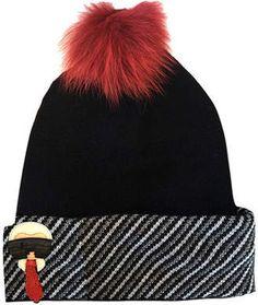 Fendi Karlito Cashmere-Blend Beanie Hat w  Fur Pompom  hat  womens 4c6bb7e5840c