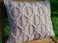 Soft Hand Knit Cabled Pillow cushion Light Brown. by ELITAI