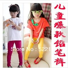 Free Shipping 2013 Ultra Elastic Baby Pencil Pants Gril Black Candy Color 100% Cotton Long Trousers Child Legging  in black cheap