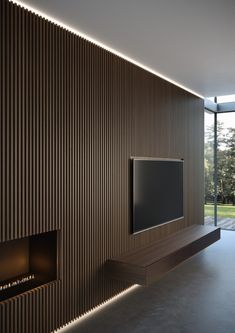 New wall paneling from Moderne Living reinvents the very concept of wall cladding, in a more amplified and contemporary way. Tv Wall Design, Ceiling Design, 1 Bedroom Apartment, Apartment Interior, Wood Slat Wall, Wood Slat Ceiling, Living Room Tv Unit Designs, Tv Wall Decor, Entryway Decor