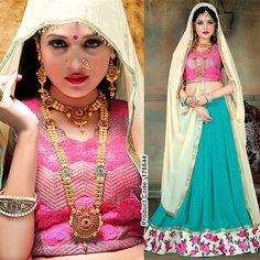 Let the english rose embroidery be your style statement this wedding season! #Lehenga #Choli #Beige #Fashion #Fashionista #Fashion2015 #IndianSaree #IndianWear #Women #IndianCloths #PinkandBlue #Magenta #PartyWearSaree #PartyWears #Onlineshopping #Wedding #Festival #Occasion
