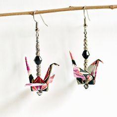 Pink Earrings,Origami Earrings,Handmade Earrings,Dangle Earrings,Teen Earrings,Bridesmaid Earrings,Birthday Earrings,Party Earrings