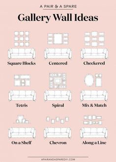 One pair & one spare part 9 ways to lay out your gallery wall # . - One pair & one spare part 9 options for the layout of your gallery wall # Gallery furniture - Gallery Wall Layout, Gallery Walls, Living Room Gallery Wall, Picture Wall Living Room, Living Room Wall Ideas, Living Room Pictures, Small Living Rooms, Home Wall Decor, Bedroom Wall Pictures