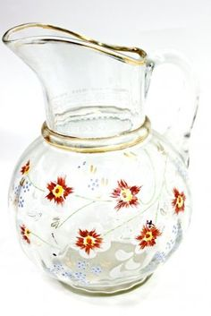 Antique Glass Water Pitcher Handpainted