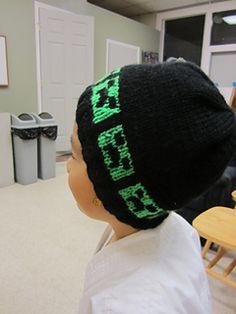 Ravelry: Minecraft Inspired Hat pattern by Jenna La Due Minecraft Hat, Minecraft Knitting, Minecraft Crochet, Knit Beanie Pattern, Crochet Beanie, Knit Or Crochet, Knitted Hats, Crochet Hats, Crochet For Boys