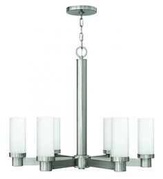 Six Light Brushed Nickel Multi-faceted Etched Glass Up Chandelier : CVM3 | Hansen Lighting