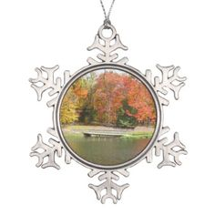 Seven Springs Fall Bridge III Autumn Landscape Snowflake Pewter Christmas Ornament - spring gifts beautiful diy spring time new year