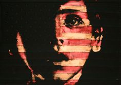 Pam Glew, American Boy Painted on American Flag