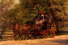 """""""A May Morning in the Park"""" ~ Four in Hand Carriage, America's Gilded Age era, c.1880. By, American Realist Artist: Thomas Eakins. ~ {cwl}"""