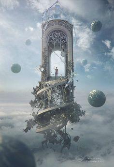 """Fantasy Artwork: """"Knocking On Heaven's Door"""" by Jie Ma Fantasy Magic, Fantasy World, Fantasy Fairies, Fantasy Castle, Fantasy Artwork, Digital Art Fantasy, Fantasy Concept Art, Fantasy Kunst, Anime Fantasy"""