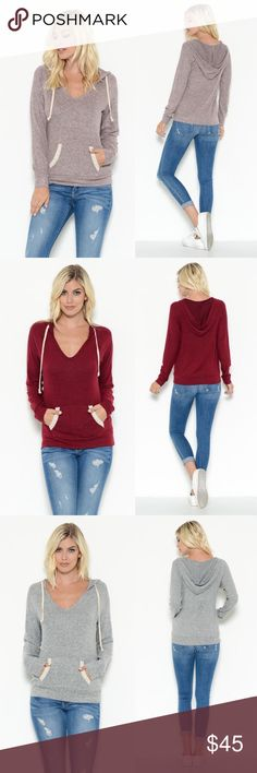 AUSTYN Hoodie w/ pockets - D. Mauve Adorable & oh so über soft hoodie top with functional pockets.    Perfect transitional piece to wear now into the colder seasons.  AVAILABLE IN BLACK, BURGUNDY, H.GREY AND DUSTY MUAVE   NO TRADE  PRICE FIRM Bellanblue Tops Tees - Long Sleeve