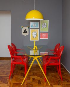 decor cinza - cozinha amarela e vermelha