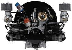 Classic rear-engine air-cooled flat-4 Bettle engine with tall fan