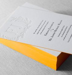 Carneros Letterpress and foil wedding invitation with painted edges, blind hit and black ink by @Dauphine Press