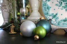 Green and blue Christmas decorating
