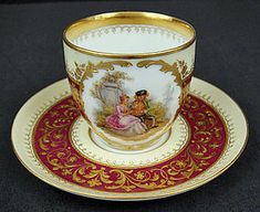 Antique Scenic Dresden Demitasse Cup & Saucer