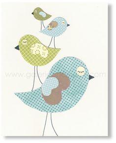 Blue and green Nursery art - baby nursery decor - children wall art - kids room decor - nursery wall art - Birds - Lovely Family print