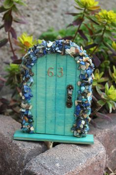 Miniature Wood Fairy Hobbit Door Turquoise Blue by The Fabled Door