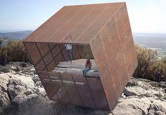 precarious 'tip-box' pavilion offers vertigo-inducing views of the montpellier mountains