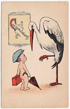Post Card Stork Delivering Dressed Baby | eBay Baby Stork, Vintage Illustration, Baby Cards, Beautiful Children, Vintage Images, Baby Boy, Storks, Post Card, Embroidery