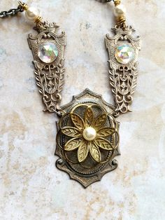 Pearls of Wisdom Necklace Medieval Heraldic by bionicunicorn, $56.00