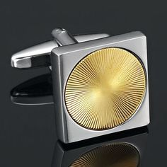 Classic Men Silver & Gold Plated Square Circle Cufflinks Jewelry | RnBJewellery