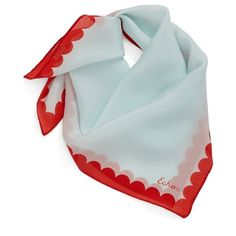Women's Echo 'Scalloping Around' Square Silk Scarf (260 DKK) ❤ liked on Polyvore featuring accessories, scarves, pale turquoise, tie scarves, silk shawl, tying silk scarves, square scarves and pure silk scarves