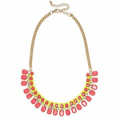 Pink fluro gem stone statement necklace $16.00