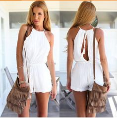 Womens Solid Color Back Hollow Out Halter Jumpsuit with Drawstring Ladies Chiffon Playsuit Rompers Mameluco Size Plus