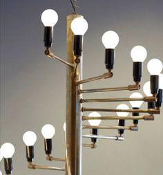 Mid Century Modern Brass Chandelier Gino Sarfatti Design