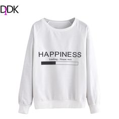 DIDK Womens Pullovers For Autumn Ladies Casual Tops White Letters Print Round Neck Raglan Long Sleeve Sweatshirt