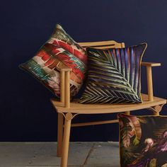 Perfect for maximalists, colour lovers and those who like bold interior design!  These sustainable cushions are made from eco friendly linen.  Inspired by tropical islands, botanical illustrations and style it dark interiors.  They look amazing against dark walls and plush velvet. Scatter Cushions, Throw Pillows, Textile Prints, Textiles, Dark Walls, Dark Interiors, Cushion Pads, Linen Fabric, Sustainability