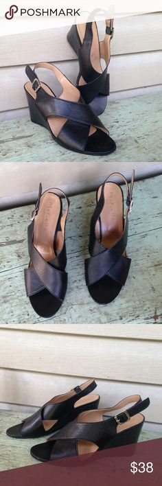 NWT Mariella Black Slingback Cross Wedges Size 8.5 So chic! Mariella Shoes Wedges