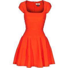 Issa Knit-Rib Fire Ribbed-Knit Dress ($885) ❤ liked on Polyvore