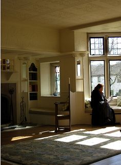 Window reading nook at Blackwell Arts and Crafts house in the Lakes