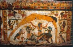 Nut, Geb and Shu with the beautiful house (trice nefer) symbols (Firmament or House of God).  Ägyptische Malerei - Nut, Geb und Schu / ägypt. Malerei - digitaler Kunstdruck