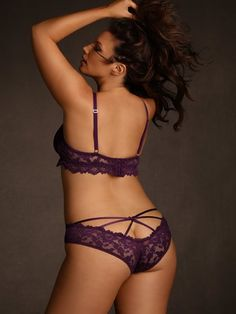 Plus Size Strappy Stretch Lace Panty, Plum