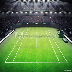 Picture of grass tennis court and stadium full of spectators with spotlights tennis sport theme render illustration background stock photo, images and stock photography. Freelance Architect, Sports Stadium, Sports Update, Serena Williams, Image Photography, Indoor Outdoor, Tennis, Sport Theme, Spotlights