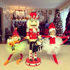 With tutu's.  easy to make! Little Bit Funky: 25 elf on the shelf ideas! {pin for next year!}
