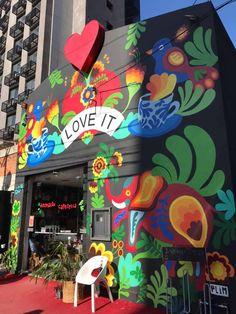 lojaloveitcafeteriadecoraçõespresentes streetartgraffiti – Graffiti World Murals Street Art, Street Art Graffiti, Graffiti Murals, Mural Wall Art, Wall Art Prints, Art Rupestre, Garden Mural, School Murals, Urban Street Art