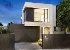 Facade Modern House Facades, Modern House Plans, Modern House Design, Duplex Design, Townhouse Designs, Modern Exterior, Exterior Design, Building Design, Building A House