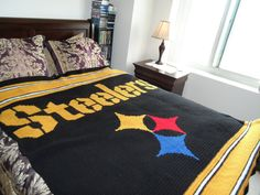 Steelers Crochet Afghan Pattern by SewLoveToHook on Etsy, $8.00