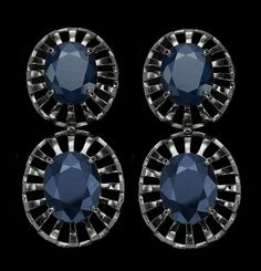 Czar Earrings in 18K White Gold with Black Rhodium and Blue Sapphires