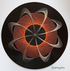 Uv Wall Art The Spin In Orange Abstract - Diy Crafts - Marecipe String Wall Art, Nail String Art, String Crafts, Diy Crafts, Arte Linear, Art Du Fil, String Art Patterns, Spirited Art, Geometry Art