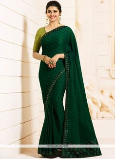 Buy Blooming Dark Green Colored Partywear Embroidered Georgette Saree at Rs. Get latest Festive wear saree at Peachmode. Sari Design, Indian Beauty Saree, Indian Sarees, Georgette Sarees, Silk Sarees, Chiffon Saree, Bollywood Sarees Online, Bollywood Lehenga, Diwali Dresses