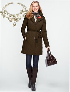 Talbots- love the boots/ and structured bag.  Scarf..perfect winter look