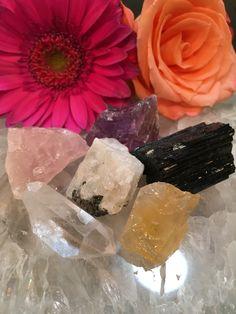 Good Vibes Crystal Set (Raw Moonstone, Rose Quartz, Citrine, Black Tourmaline, Quartz, & Amethyst)