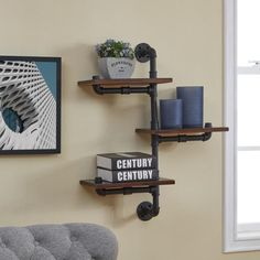Diy Pipe Shelves, Industrial Wall Shelves, Wood Floating Shelves, Wood Shelves, Black Pipe Shelving, Rustic Wall Shelves, Open Shelves, Shelf With Pipe, Shelves With Pipes