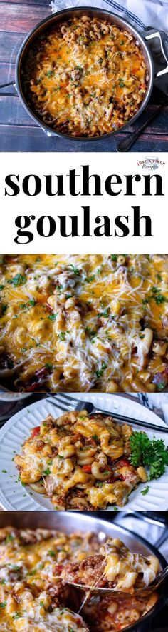Southern Goulash is an easy weeknight dinner recipe! Pure comfort food, this wallet-friendly supper is one the whole family will love. Meat, pasta, fresh onion and bell pepper all topped with cheese i Pasta Dishes, Food Dishes, Main Dishes, Casserole Recipes, Meat Recipes, Cooking Recipes, Recipies, Chicken Recipes, Healthy Recipes