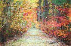 Autumn trail art photography nature Michigan by dahliahousestudios, $75.00